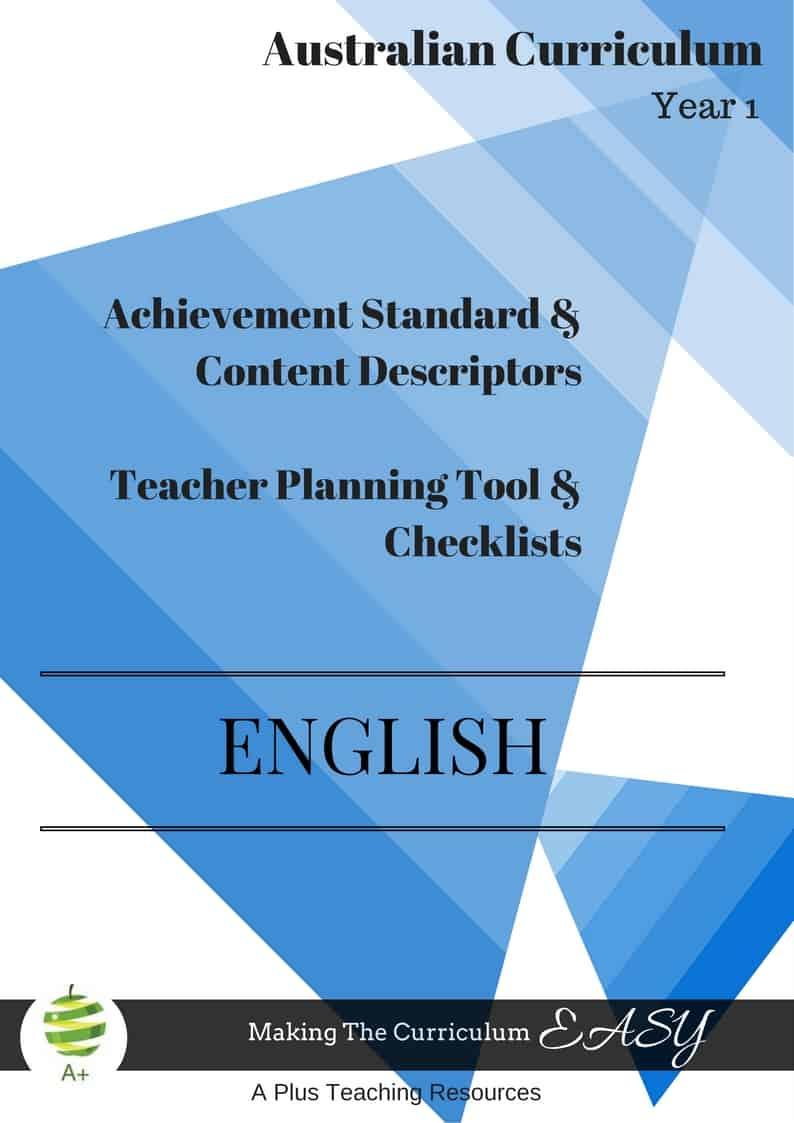 Y1 Editable English Checklists