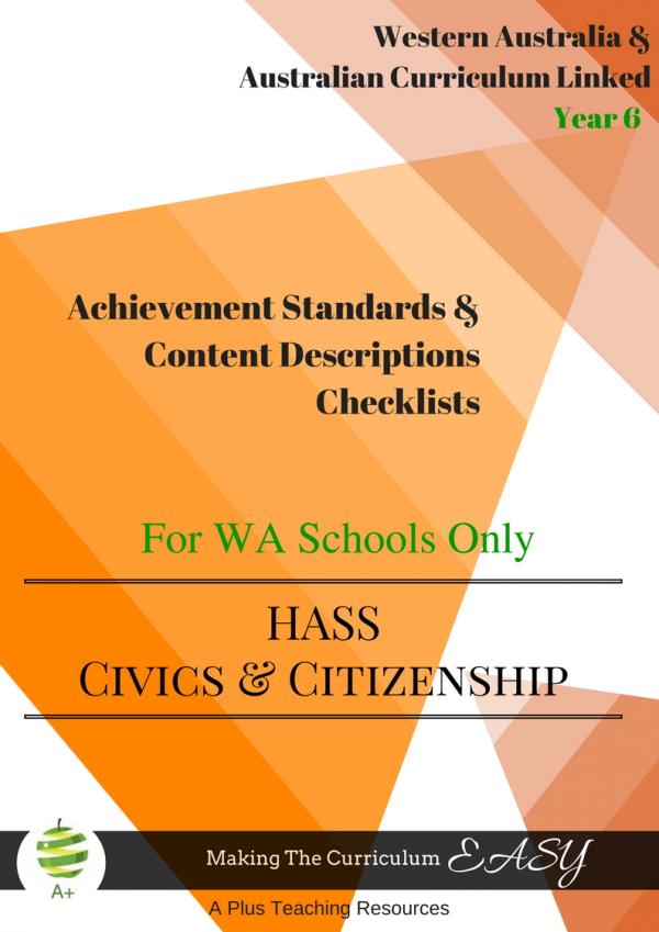 Civics & Citizenship Checklists WA Year 6