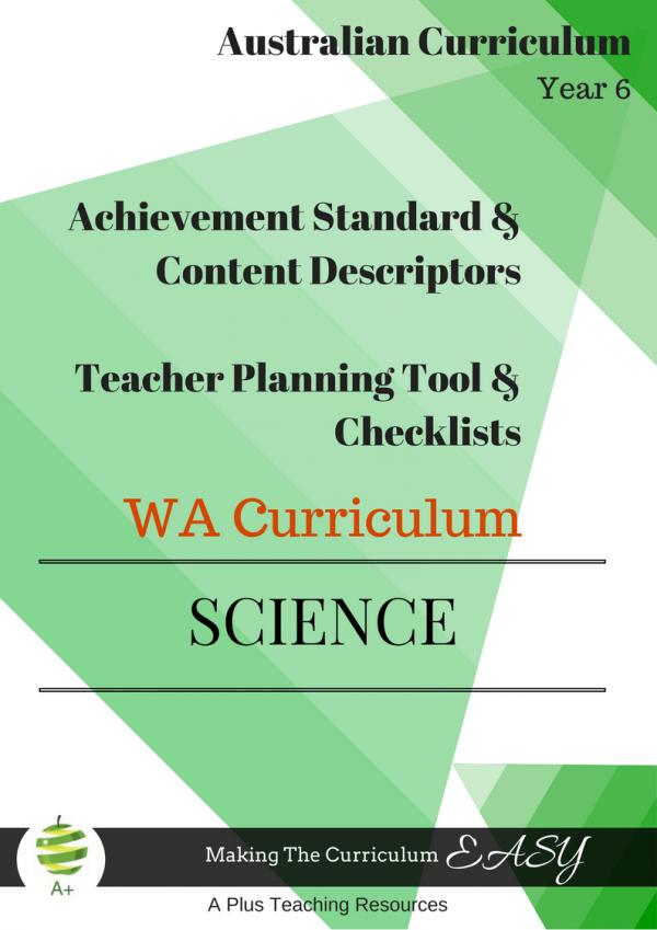 Year 6 Science Checklists WA