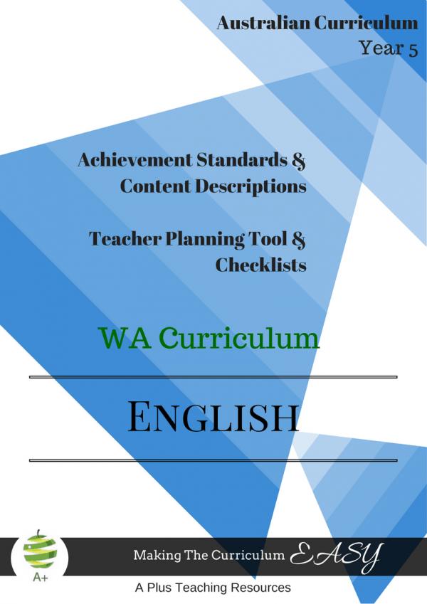 Editable Checklists English WA year 5