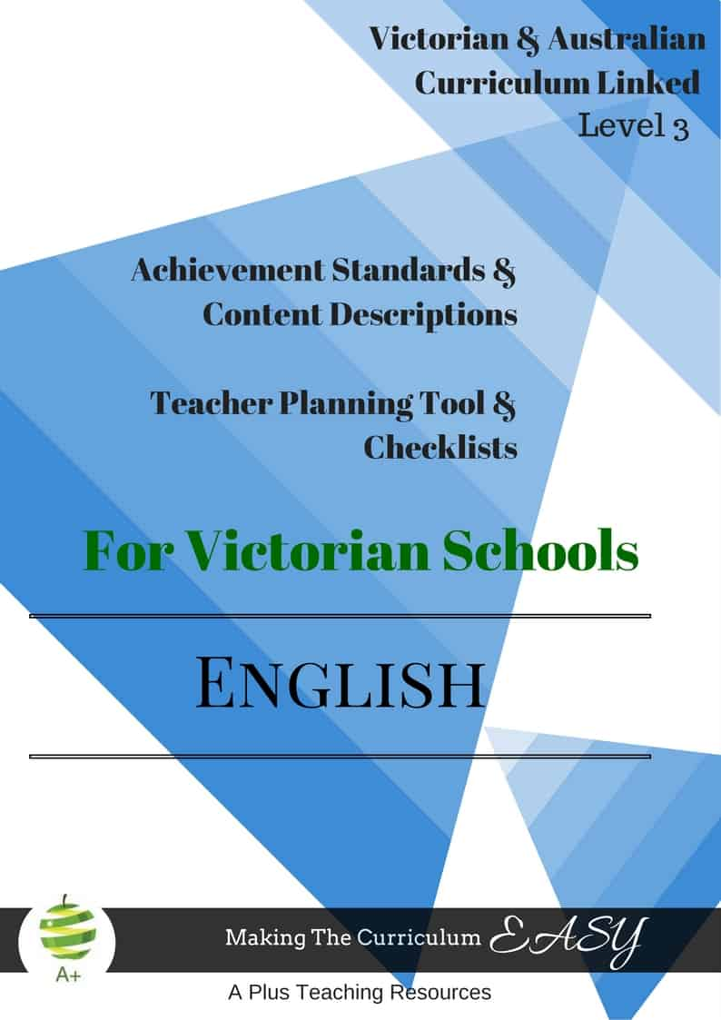 Level 3 Editable English Checklists - Victorian Curriculum