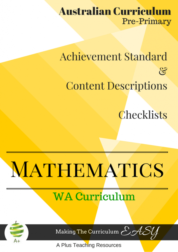 Pre-Primary WA Maths Checklists