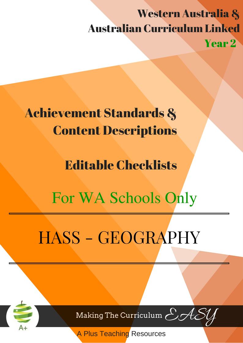 Y2 Geography Checklists for WA