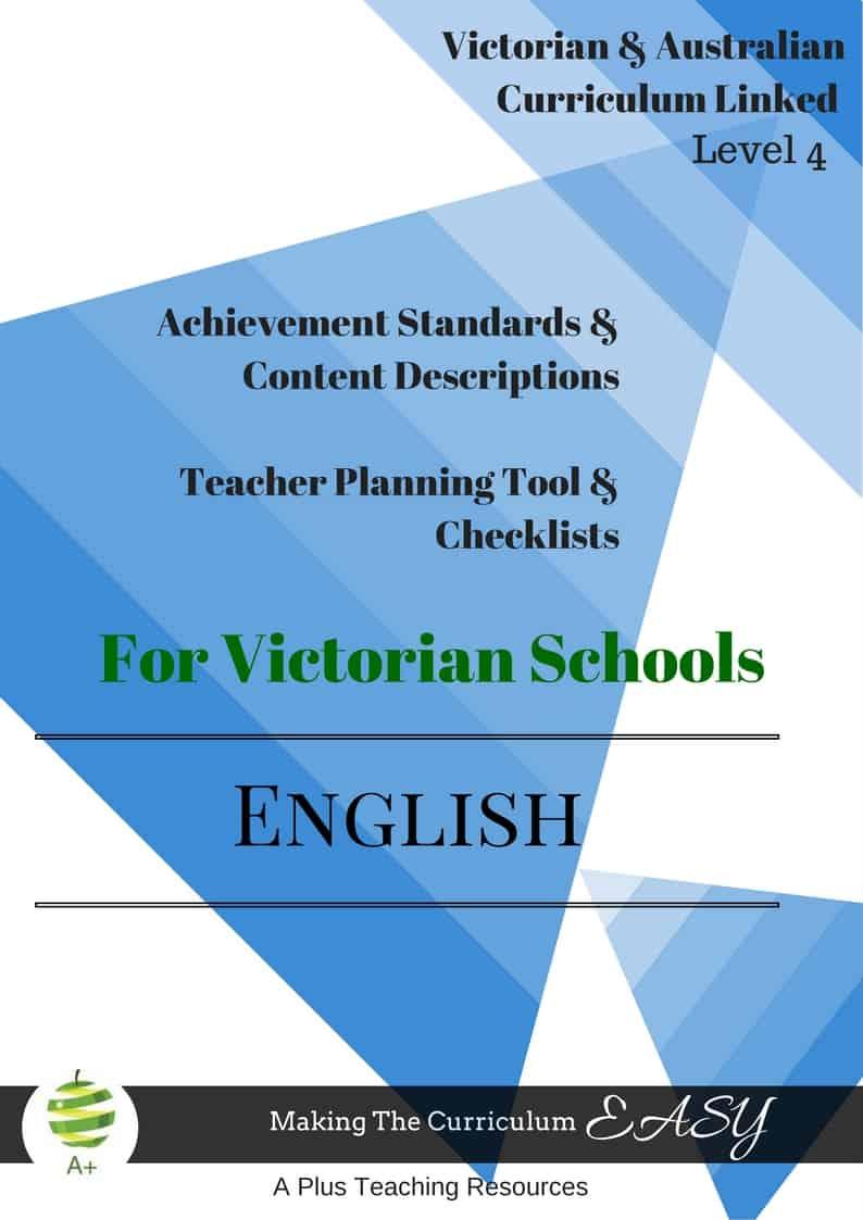 Victorian Curriculum Level 4 English Checklists