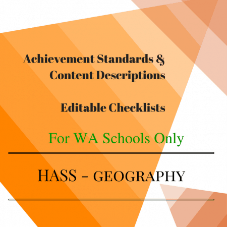 WA HASS Geography -Y 4 Editable Checklists