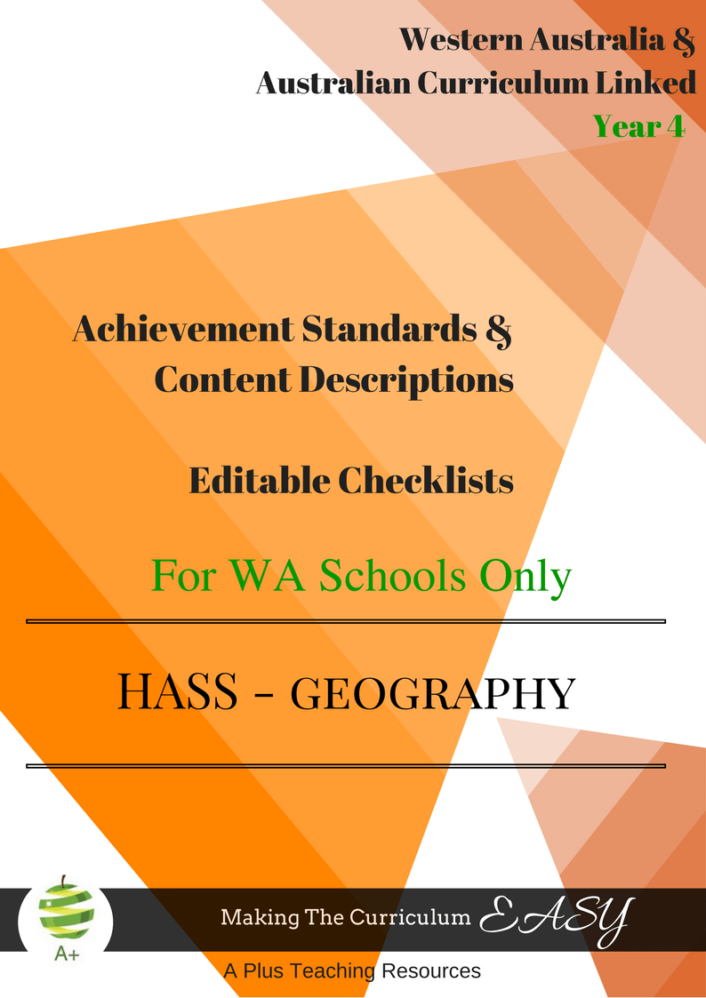WA HASS Geography -Y 4 Editable Checklists