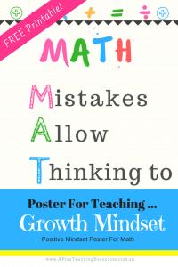 FREE MATH Growth Mindset Poster Printables