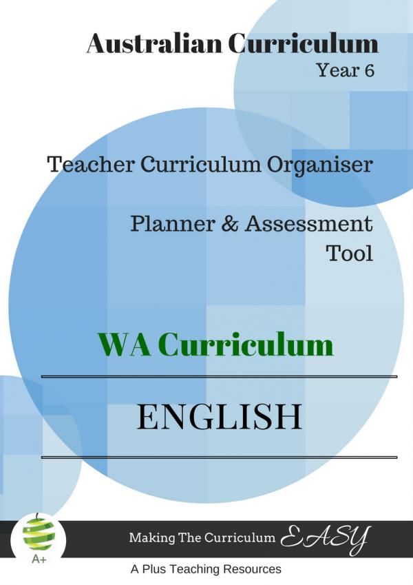 English Organiser WA Curriculum Year 6