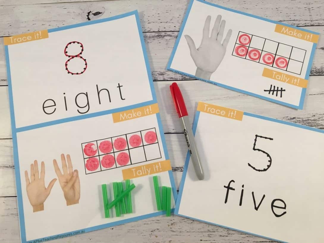 Teaching Number Recognition Activities 0-10 Trace, Ten frames & Tally Game