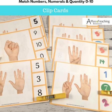Clip Card math game 0-10