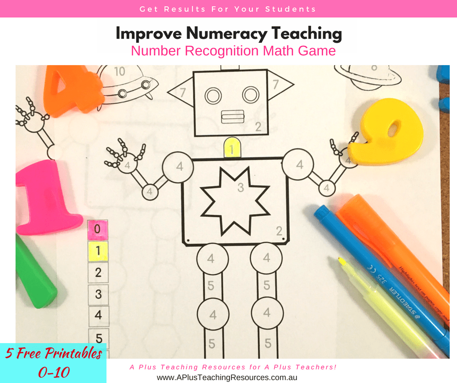 0-10 number recognition colouring robot