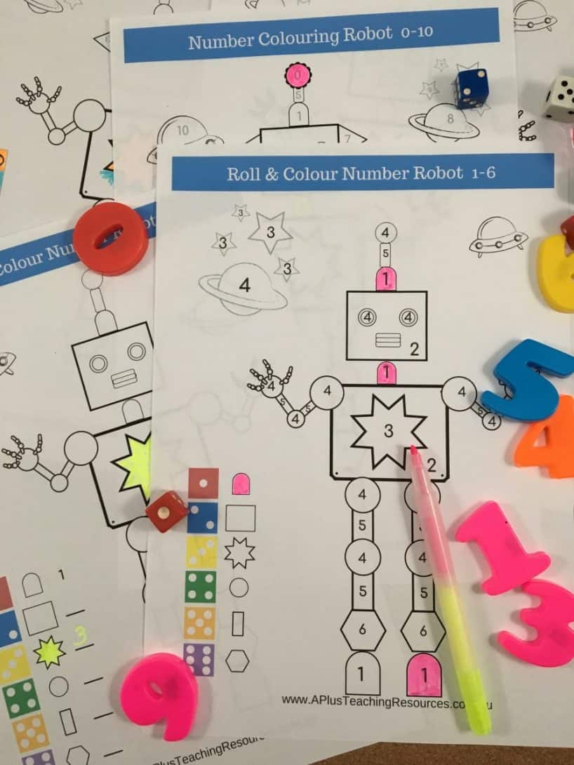 robot colouring freebie