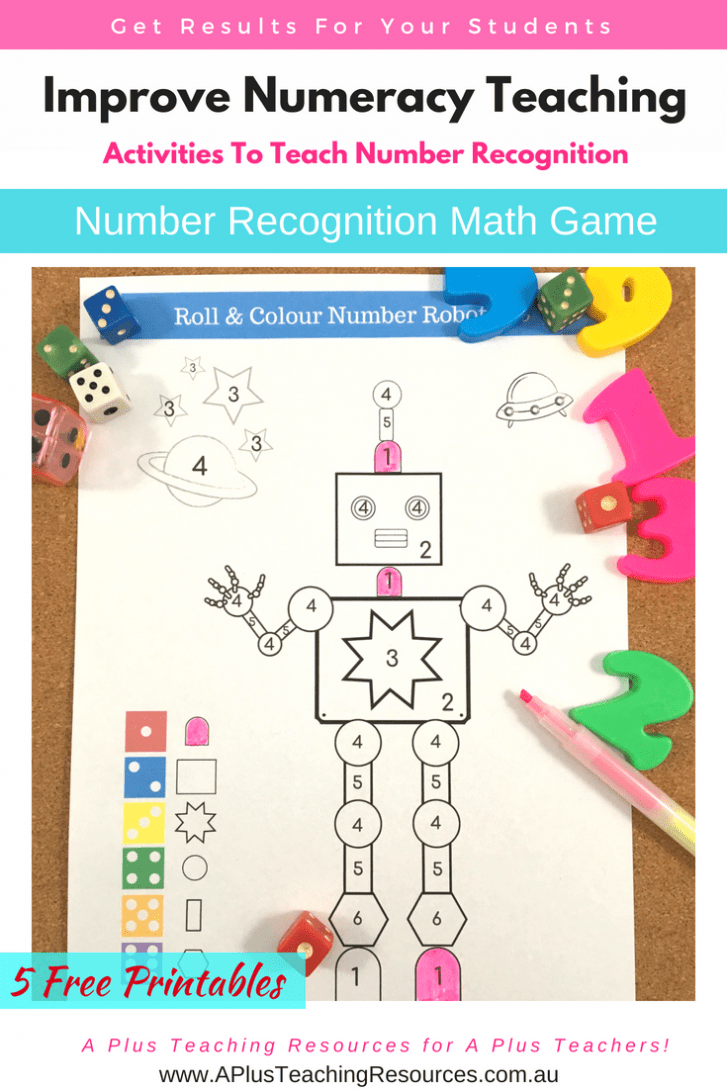 Roll & Subitise numbers Robot Colouring Game