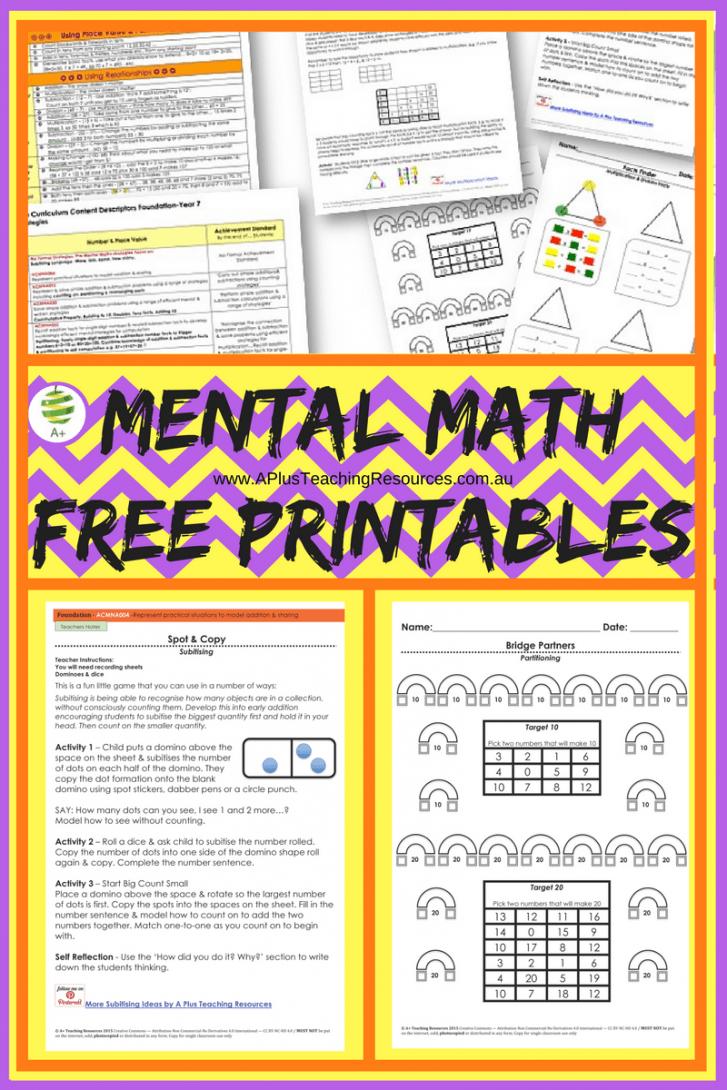 Teaching Mental Maths Freebie