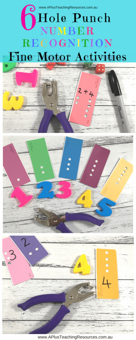 6 Hole Punch Number Recognition Activity Ideas