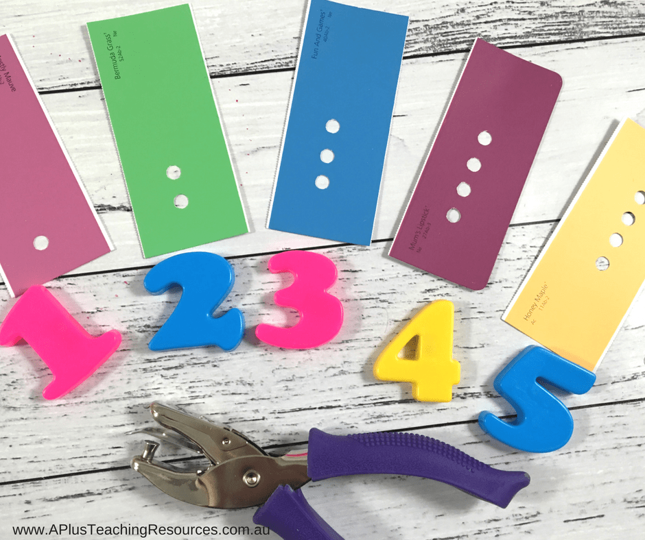 Hole punch fine motor & matching numbers activity