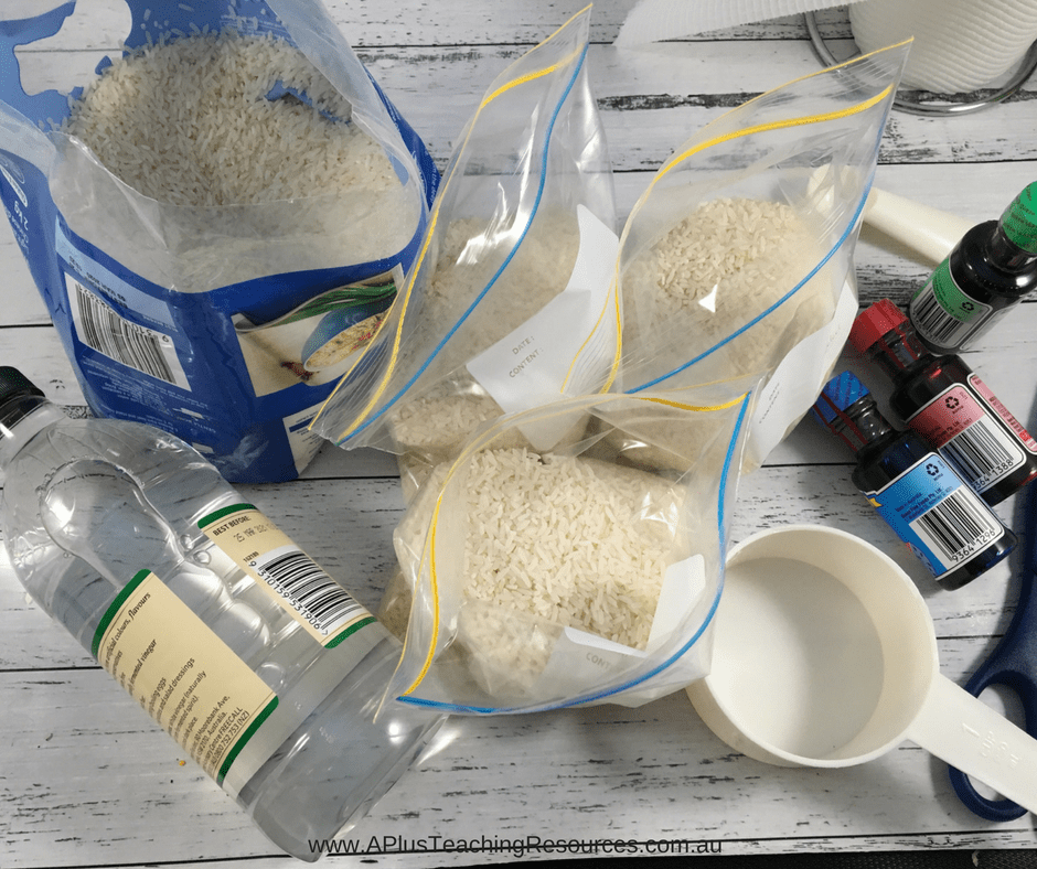 Measure rice into bags