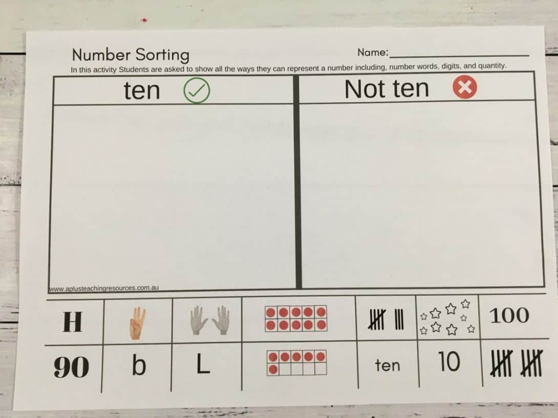number sort think boards cut sort and stick