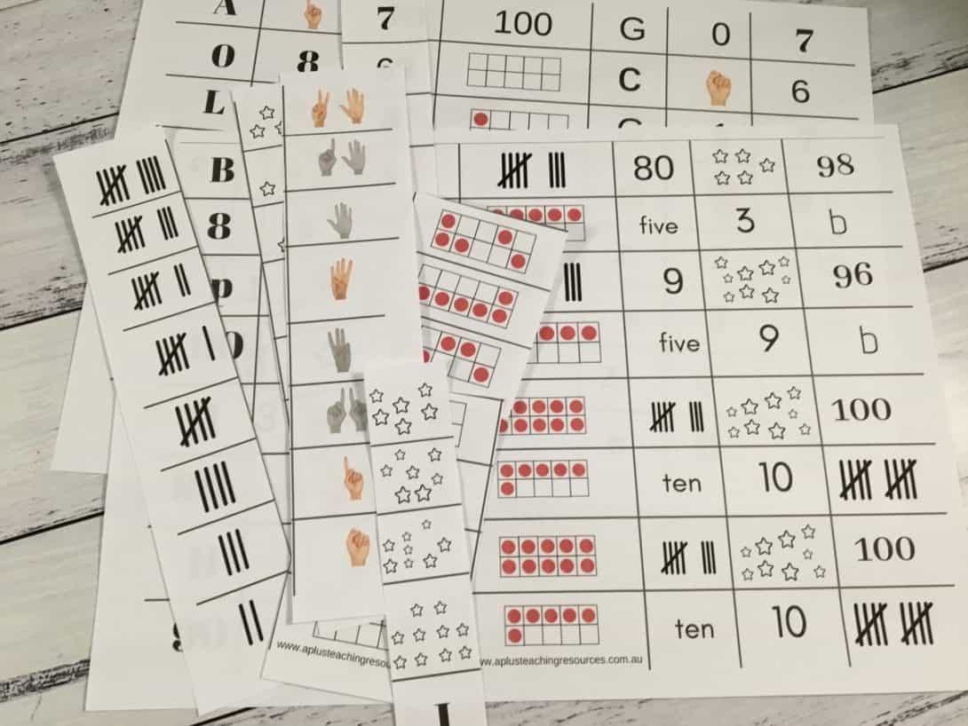 Number 0-10 sorting cards