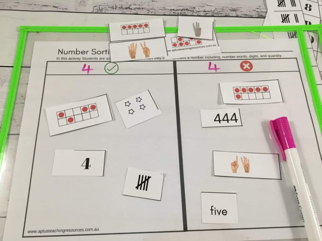Free sorting numbers think board