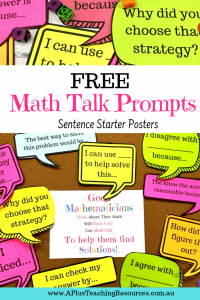 FREE math talk prompt posters