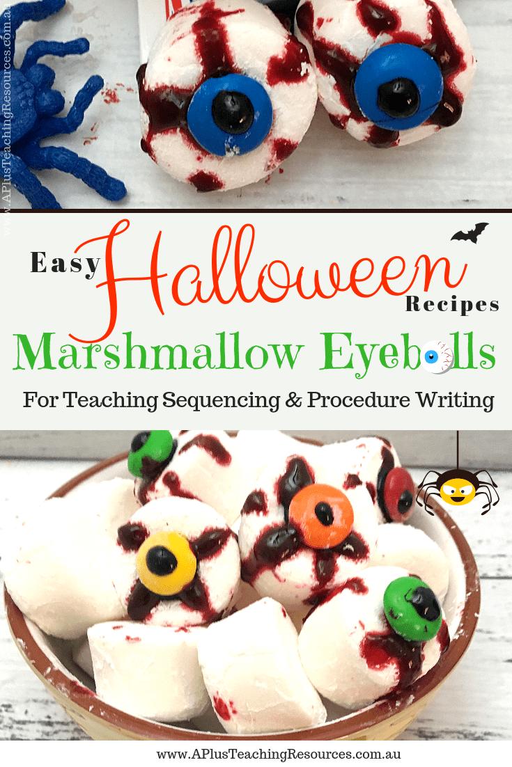 Easy Halloween Recipes Marshmallow Eyeballs