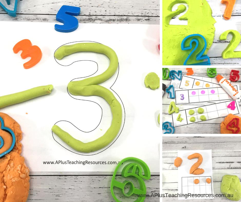 Printable number playdough mats