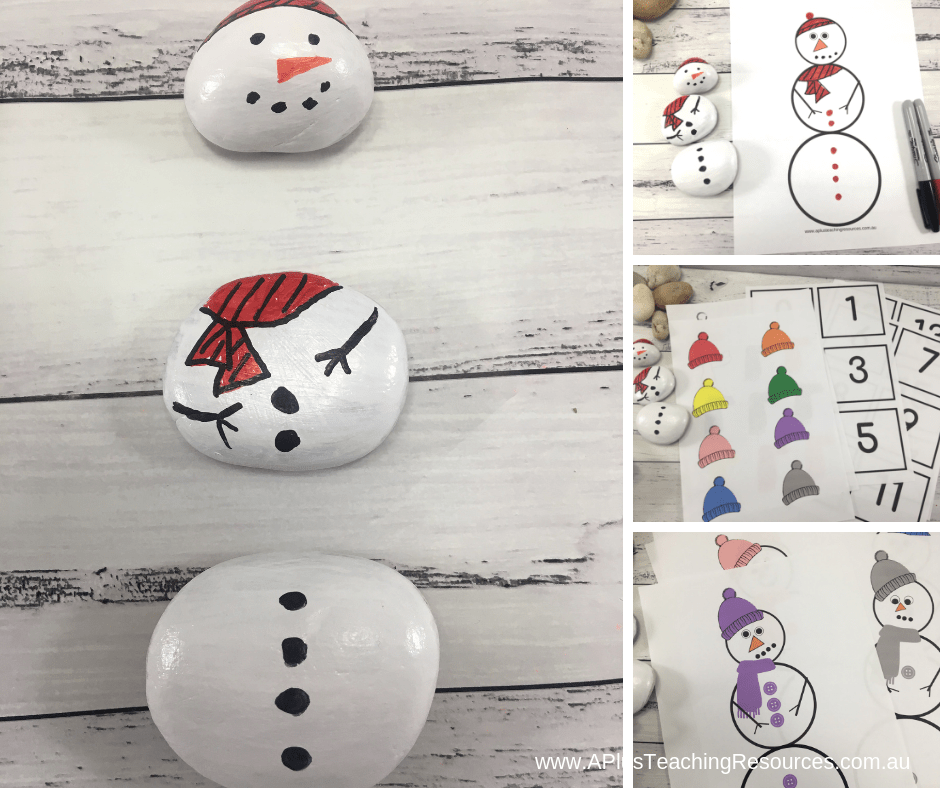 Snowman painted rock montage