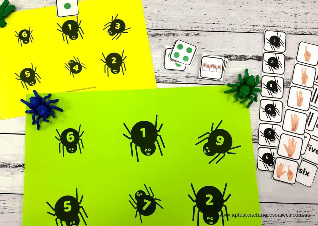 Spider number recognition bingo