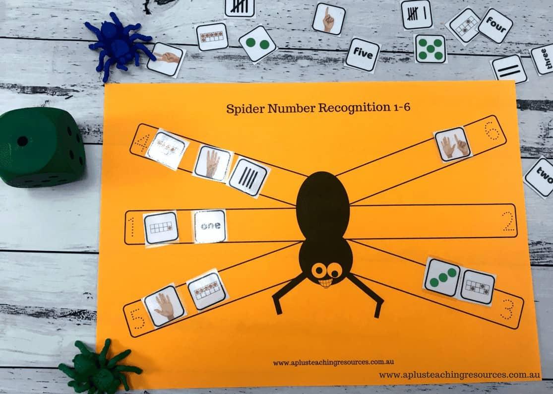 Spider Dice Math Game Board