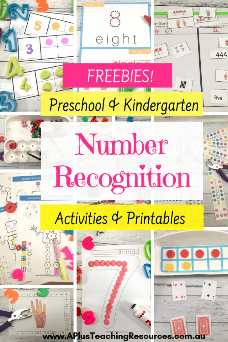 number recognition freebies for kindergarten
