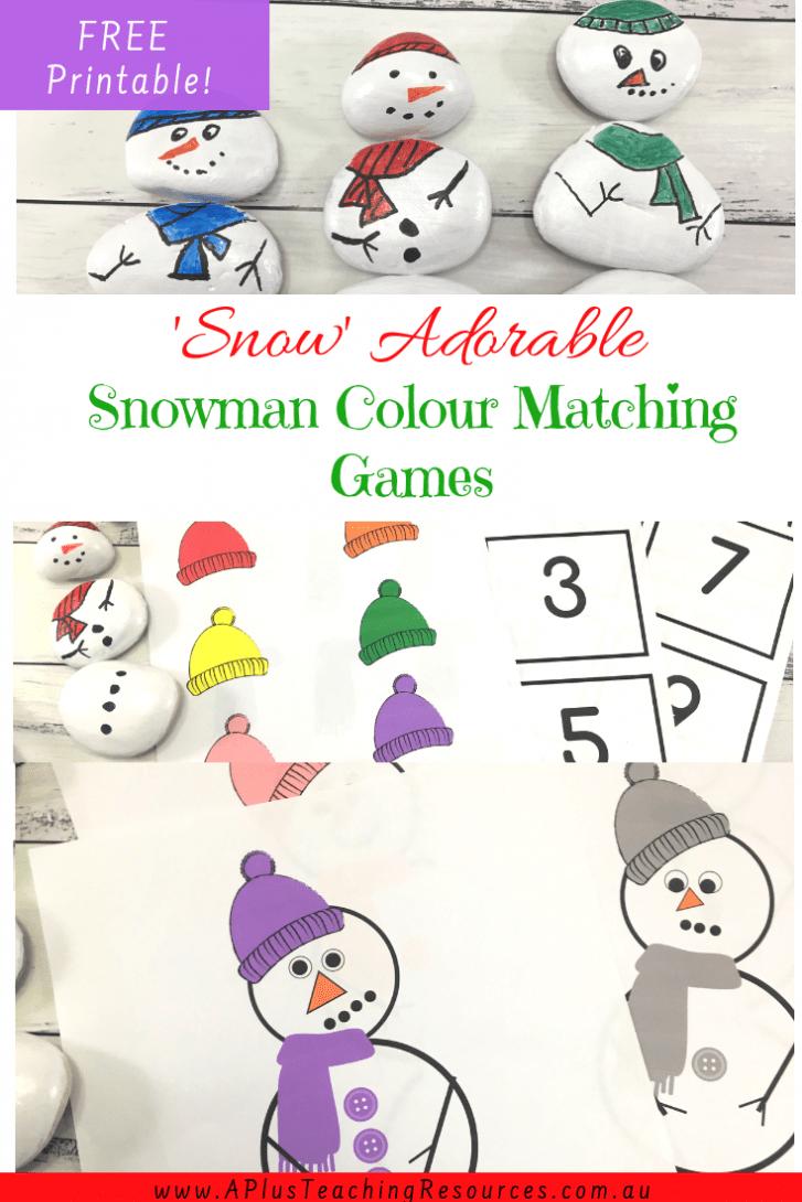 Colour Matching Snowman Printable