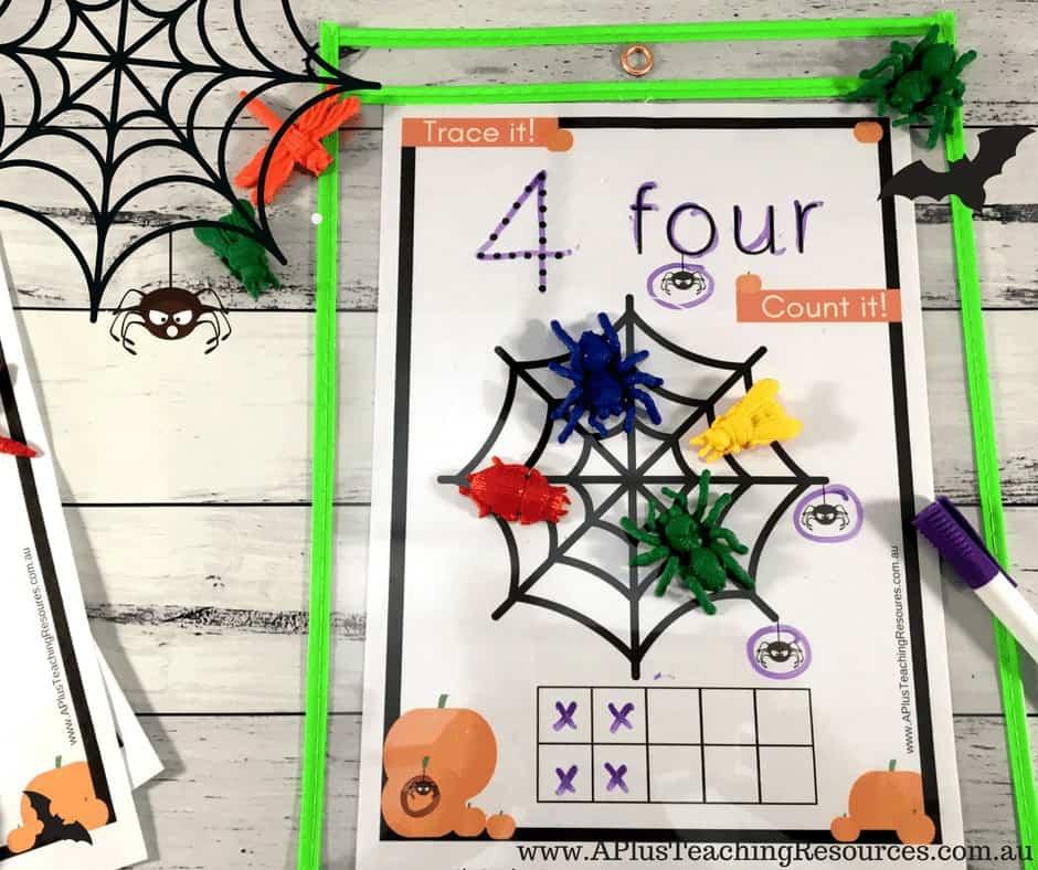 Number Recognition worksheet for Halloween