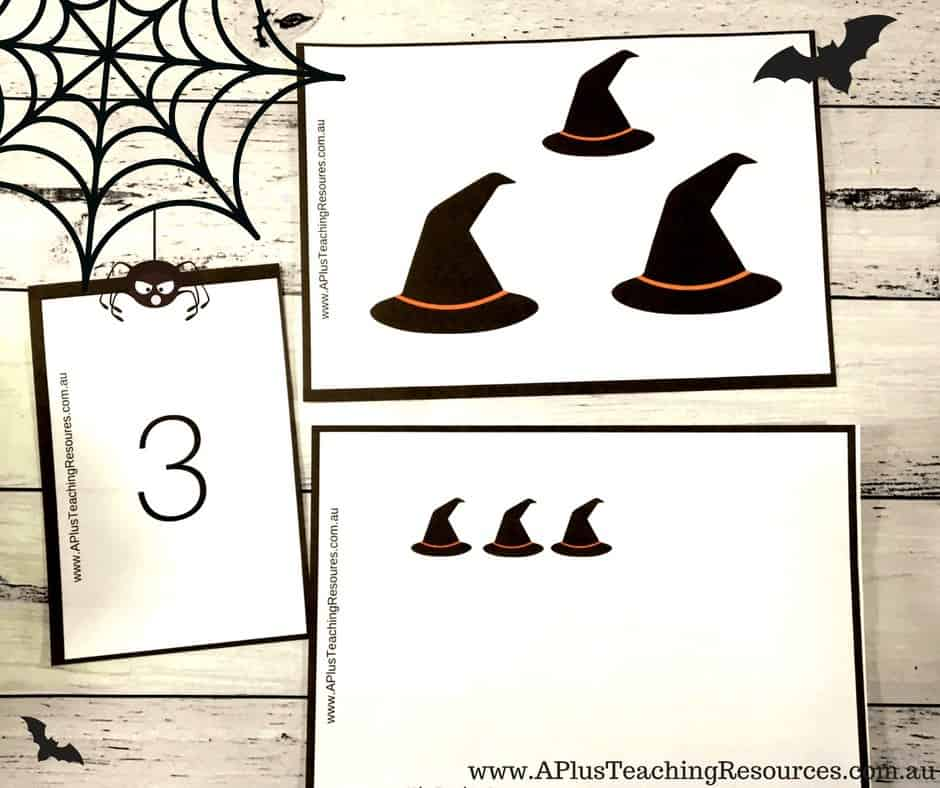 Witches hats number recognition activity