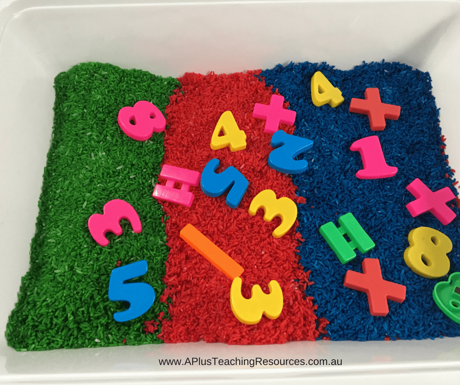 Numbers and letters sorting coloured Rice Bin