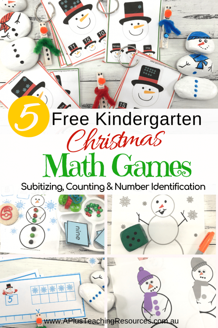These FREE Kindergarten Snowman math games are great Christmas printables for helping kids with numbers, counting and subitizing. That's one pack for each day! Snow much fun for preschool and Kindergarten kids to practice subitizing and learning to identify numbers. Get them for FREE from our website! #numbersense #freeprintable #christma