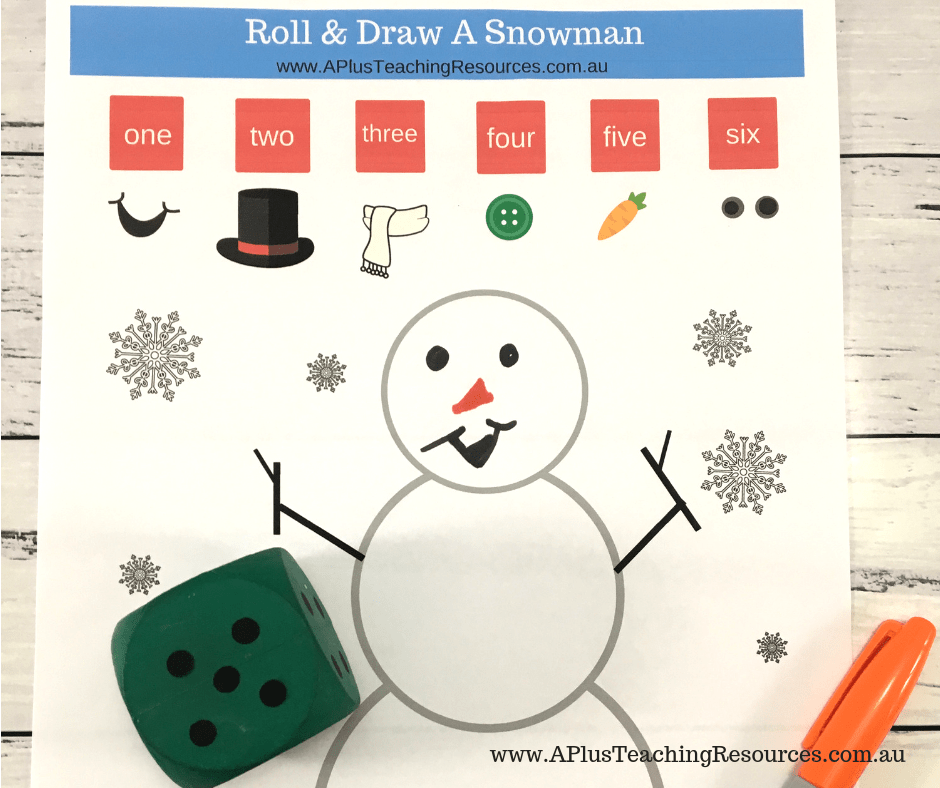 Roll and match number names snowman math game