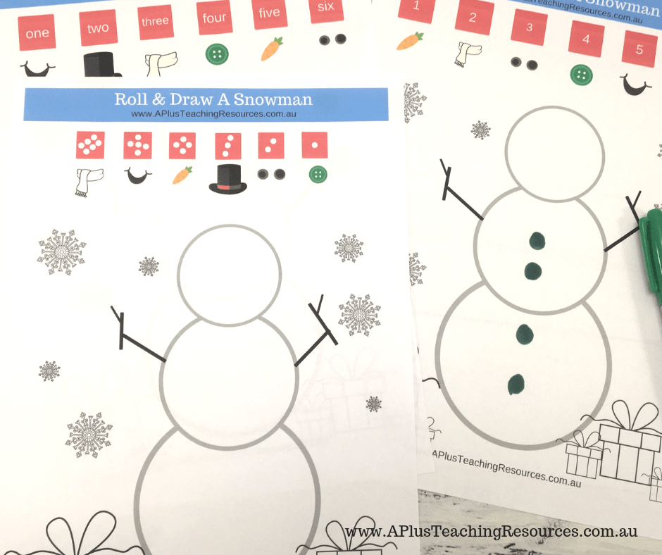 Roll and subitize snowman Game