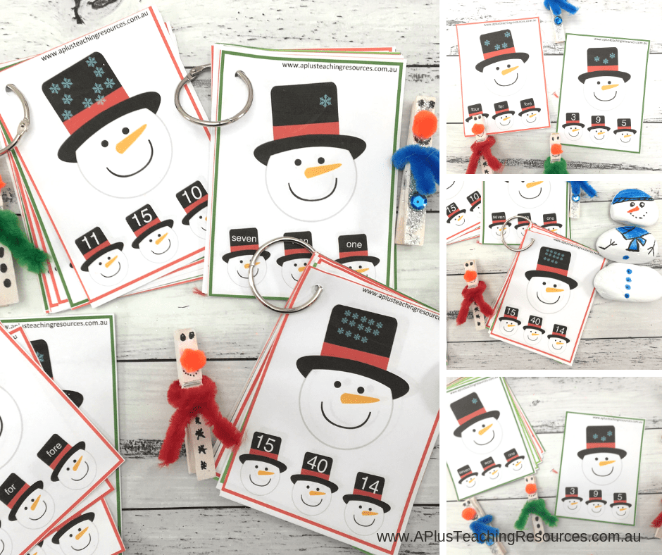 snowman clip cards math printables