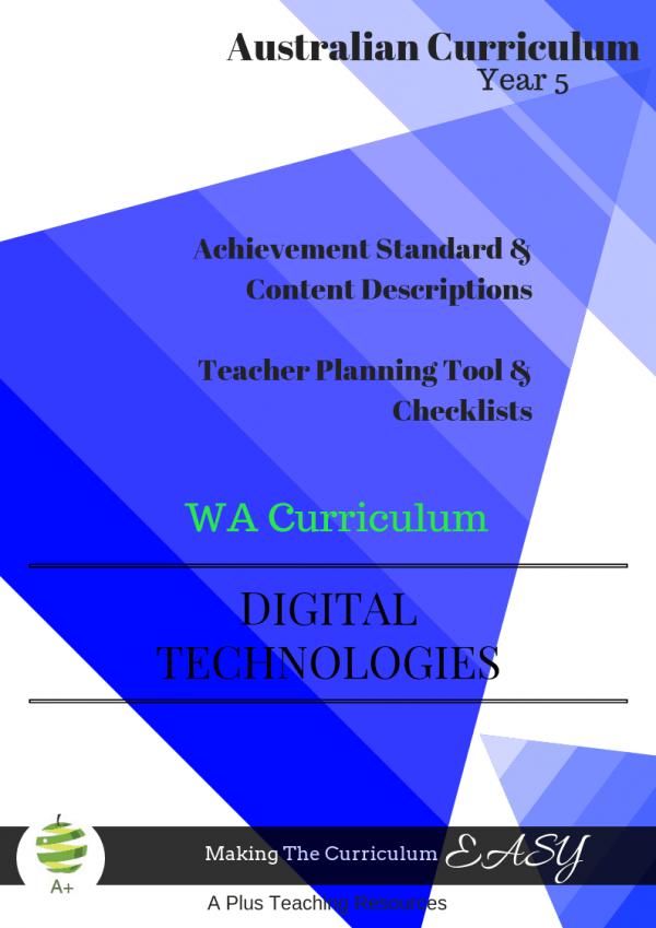 WA Y5 DIGITAL Technologies Checklists For Teachers