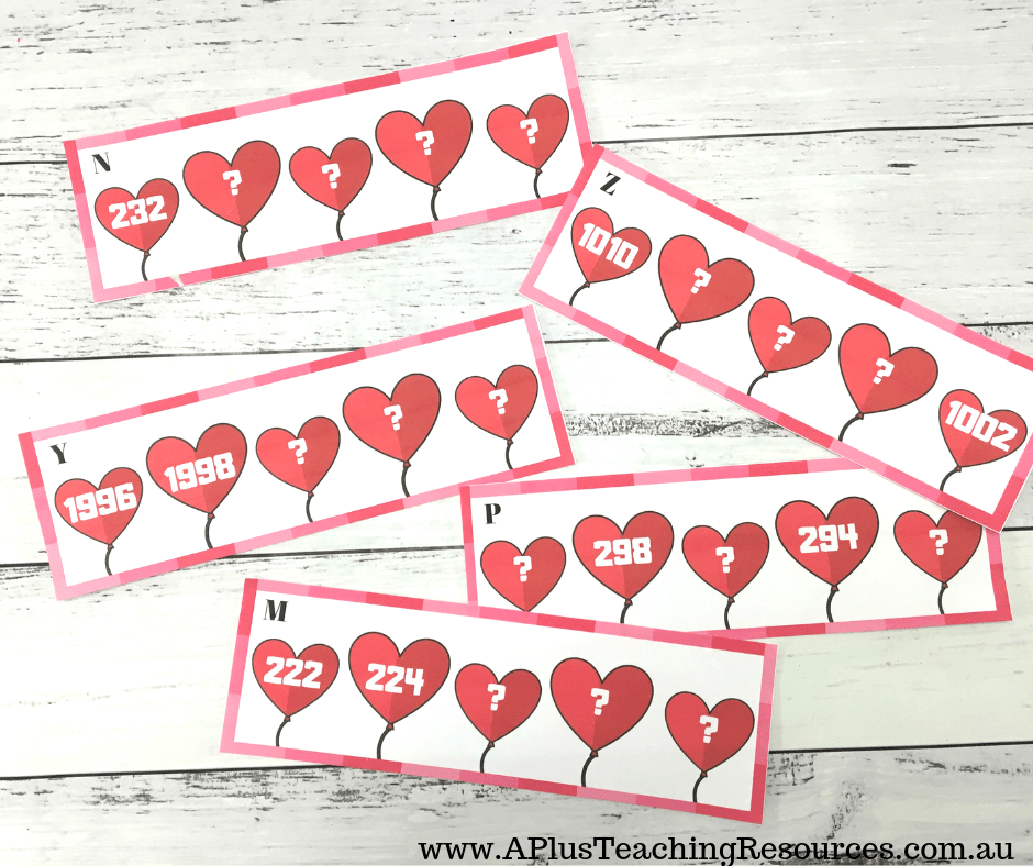 Free Hearts Skip Counting Task cards