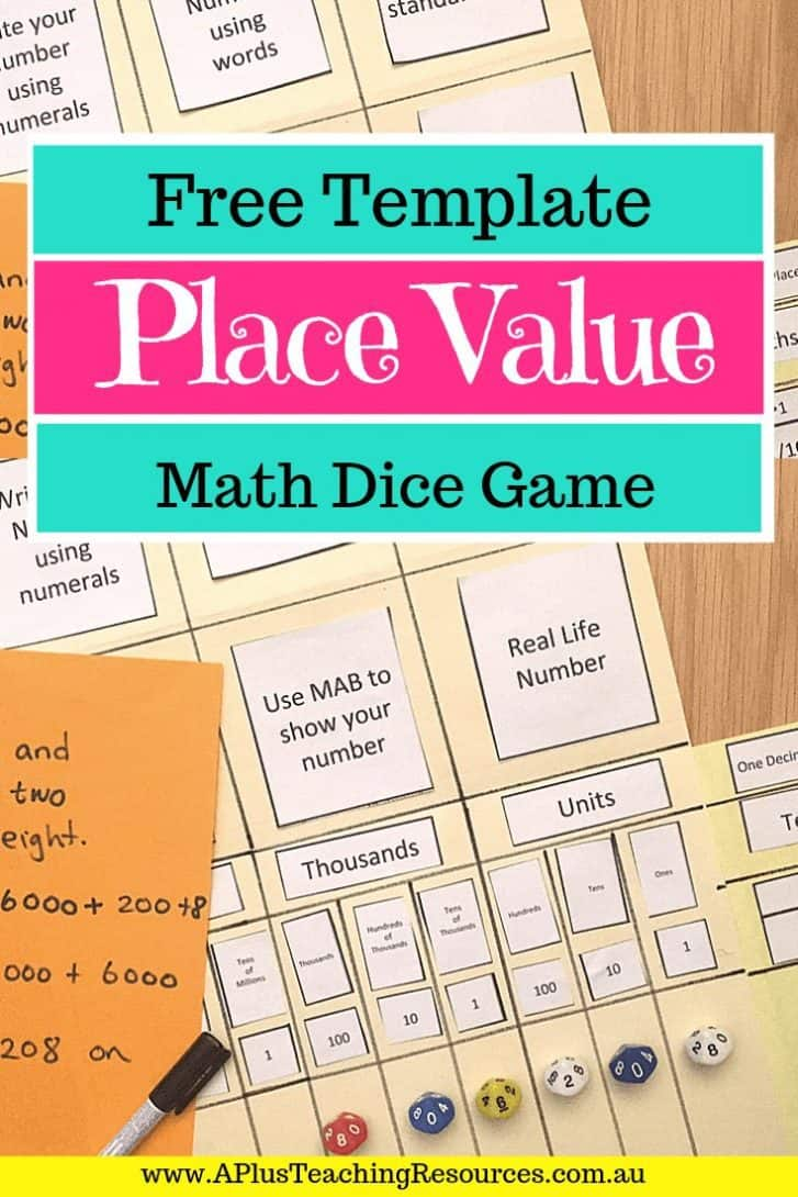 Place Value Folder game printable