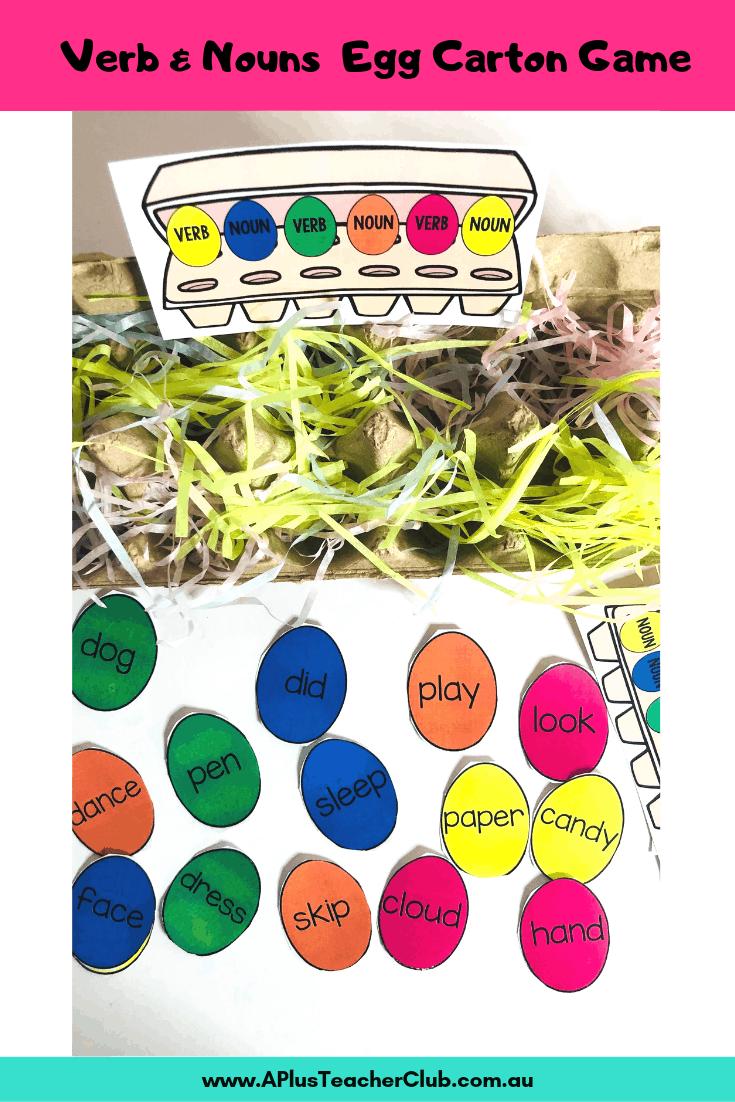 Verb & Nouns egg carton grammar game