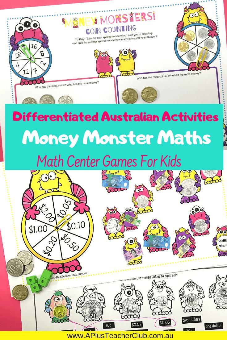 Australian money math center games