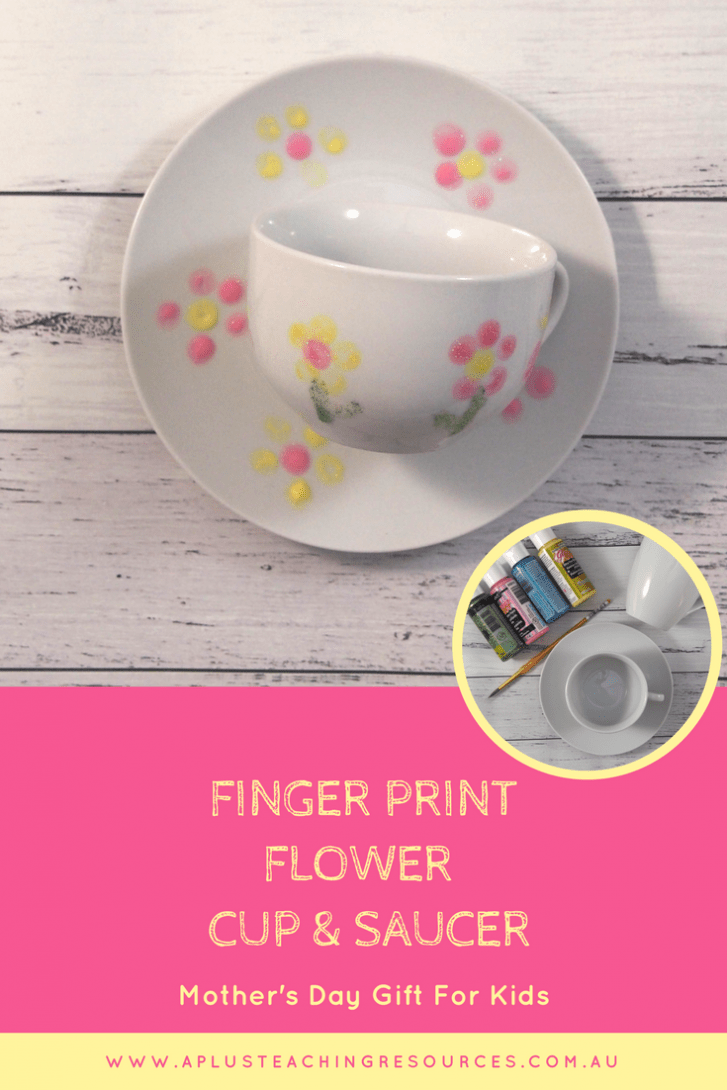 Fingerprint flower cup with saucer Mother's Day Gift