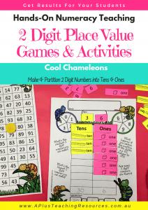 2 digit Place Value Math Games - cool chameleons