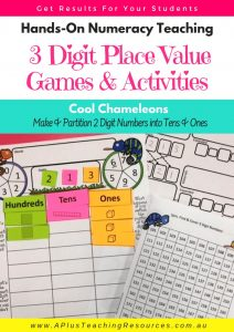 3 digit Place Value Math games cool chameleons