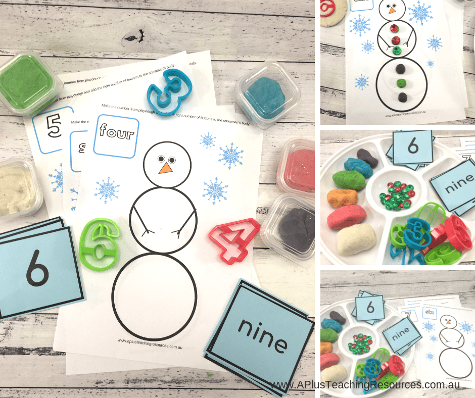 Snowman Playdough mats Free printable