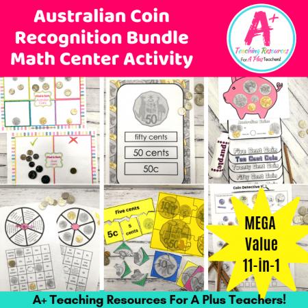 Image of Math Center Activities For teaching Australian coins