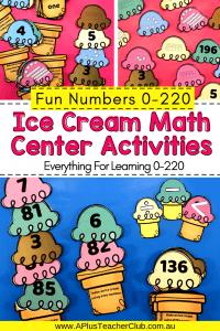 Ice cream Math Center Numbers 0-220 Pin